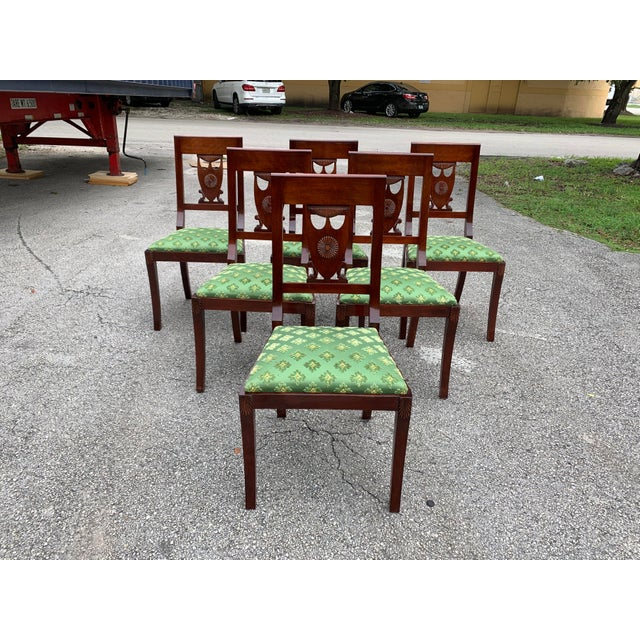 1910s 1910s French Empire Solid Mahogany Dining Chairs - Set of 6 For Sale - Image 5 of 13