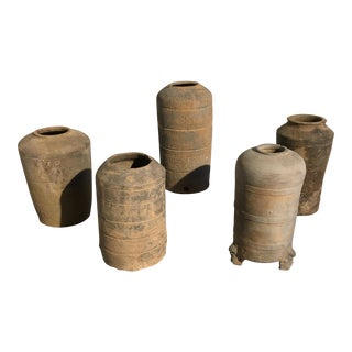 Group of 5 Chinese Gray Pottery Models of Granaries, Probably Han Dynasty For Sale