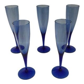Vintage Cobalt Blue and Sky-Blue Bowls Glasses - Set of 5 For Sale
