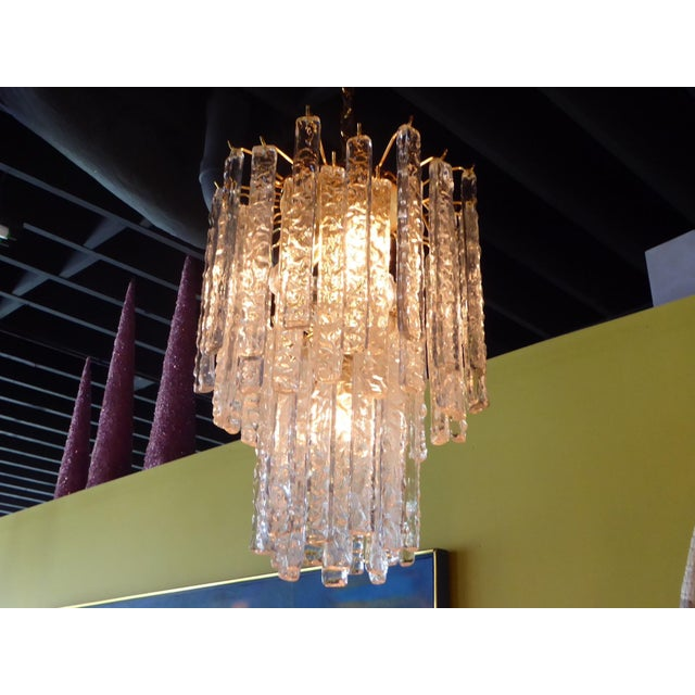 1960s Mid-Century Modern Mazzega Murano Textured Crystal Chandelier For Sale - Image 9 of 12