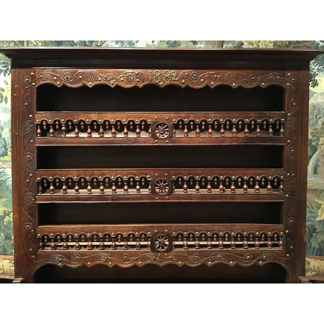 This French Vaisselier is easy to date--it's written in nailhead trim on the top of the piece--1889! It has fabulous...