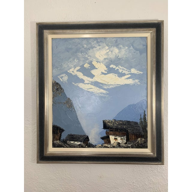 Cabin Vintage Swiss Alps and Cabin Large Framed Painting For Sale - Image 3 of 13