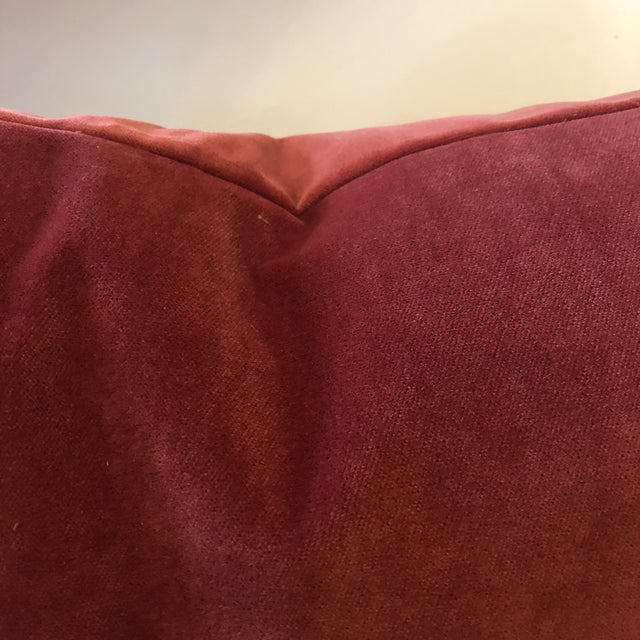 Contemporary Burnt Umber Velour Feather Down Accent Pillow, Custom-Tailored For Sale - Image 3 of 3