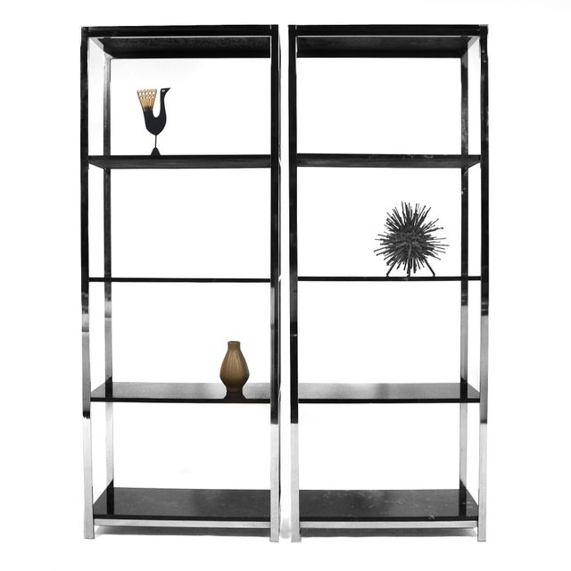 Pair of Chrome Framed Etageres in the Manner of Milo Baughman - Image 10 of 11