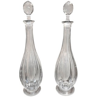 19th Century English Tall Glass Decanters - a Pair