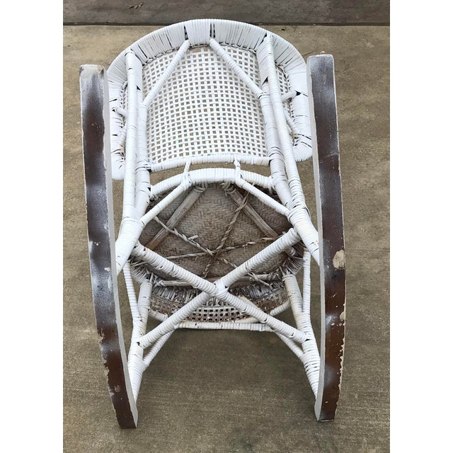 Wicker Early 20th Century Antique White Wicker Rocking Chair For Sale - Image 7 of 8