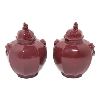 Pair of Shizi Hong Ginger Jars For Sale