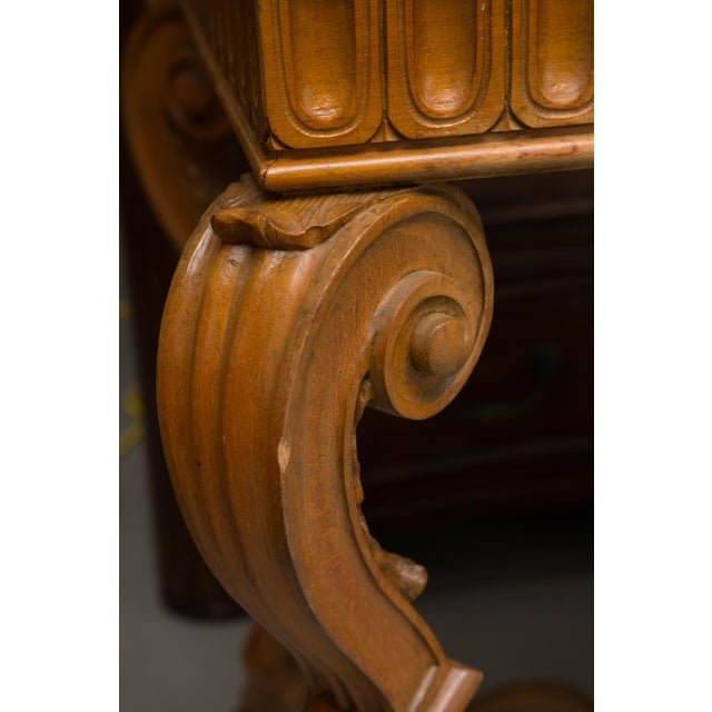 Wood Italian Beechwood Console / Center Table With Marble Top For Sale - Image 7 of 13