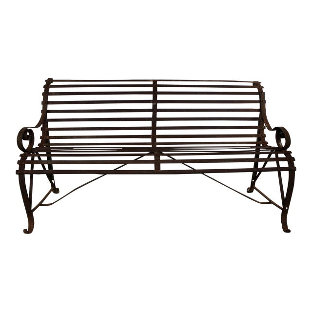 Antique 19th Century Forged Strap Iron Garden Bench For Sale