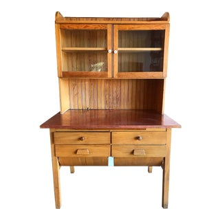 Primitive Antique Handmade Possum Belly Bakers Table Island Hutch Cabinet Kitchen Cupboard With Copper Top and Cutting Board Two Pieces For Sale