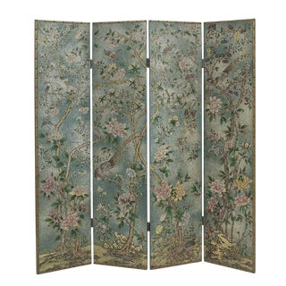 Vintage Decorative Painted Screen For Sale