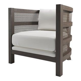 Costero Tub Chair - Smoke Wood Oak, Optic White Linen For Sale