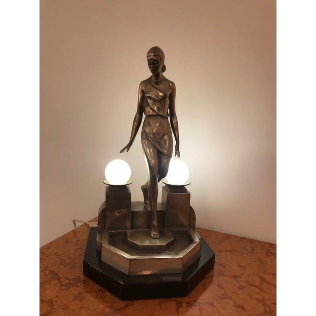 Art Deco Female Bronze Table Lamp Signed by Fayral - Image 2 of 11