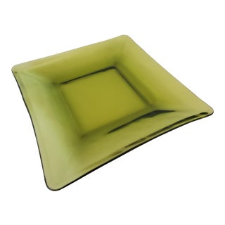 Green Glass Square Dish For Sale