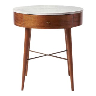 Mid-Century Modern West Elm Marble Top Wooden Side Table