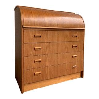 Teak Mid Century Modern Secretary Desk + Storage, Made in Sweden For Sale