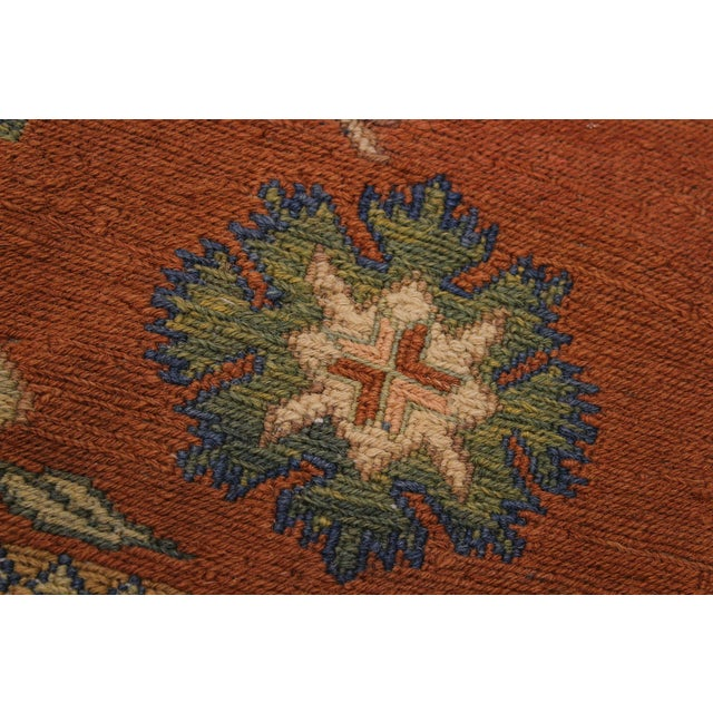 """1950s 1950s Antique Tribal Soumakh Sally Wool Rug - 6'7"""" X 9'2"""" For Sale - Image 5 of 9"""