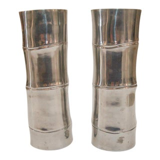 1980s Faux Bamboo Cast Aluminum Candle Sticks - a Pair For Sale