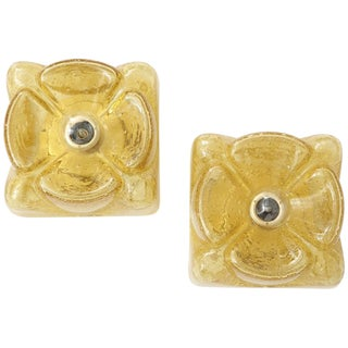 1960s Amber Glass Flower Sconces by Doria - a Pair For Sale
