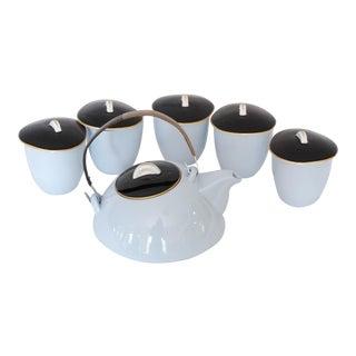 Mid-Century Blue Kokura Ware Tea Set For Sale