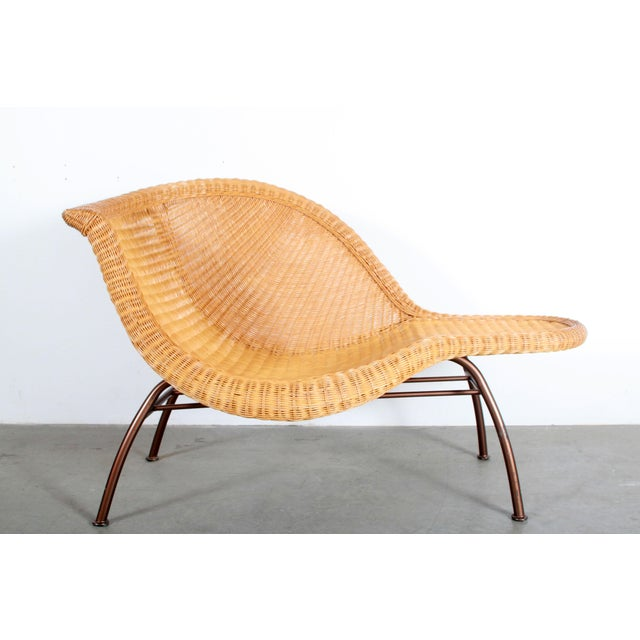 Vintage Mid Century Modern Wicker Chaise Lounge For Sale - Image 9 of 9