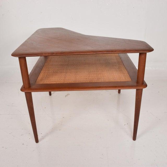 Peter Hvidt France & Sons Peter Hvidt Corner Teak Cane Table Danish Modern Daverkosen For Sale - Image 4 of 9