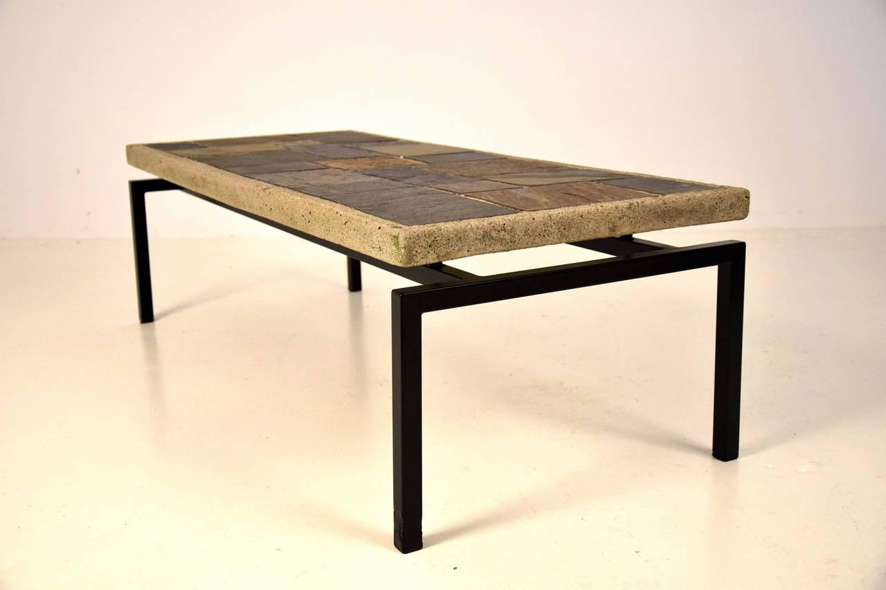 Brutalist Early 1960s Slate Stone Coffee Table By Paul Kingma   Image 4 Of 8