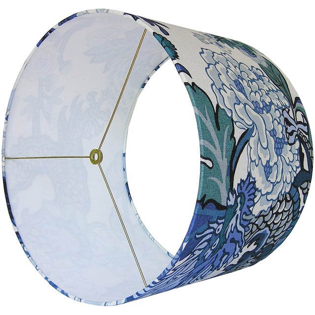 Chinoiserie China Blue Chiang Mai Dragon Drum Shade For Sale - Image 3 of 5