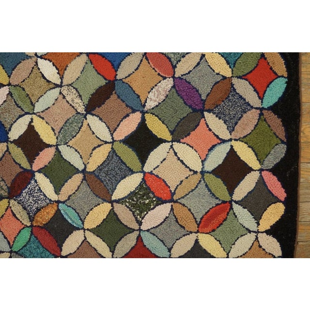 """Black Antique American Hooked Rug 3'7"""" X 8'9"""" For Sale - Image 8 of 12"""