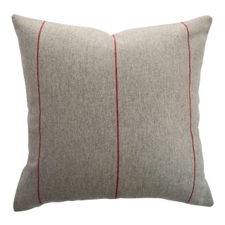 FirmaMenta Italian Red Striped Sustainable Wool Pillow For Sale