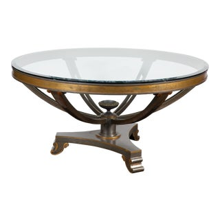 Mid-20th Century Neoclassical Bronze Table with Glass Top For Sale