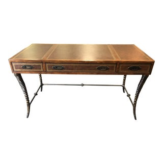 2000s Thomasville Ernest Hemingway Leather Top Campaign Desk