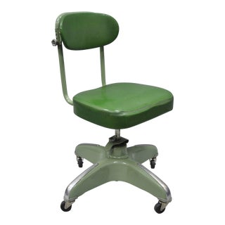 Vintage Green Adjustable Office Chair For Sale