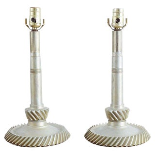Pair of Industrial Machine Age Gear Table Lamps For Sale