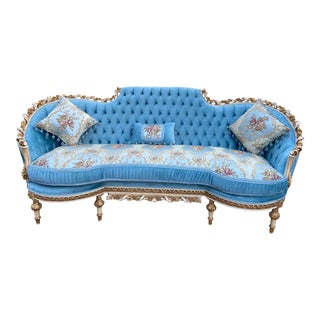 French Louis XVI Hand Carved Solid Wooden Sofa- Made to Order For Sale