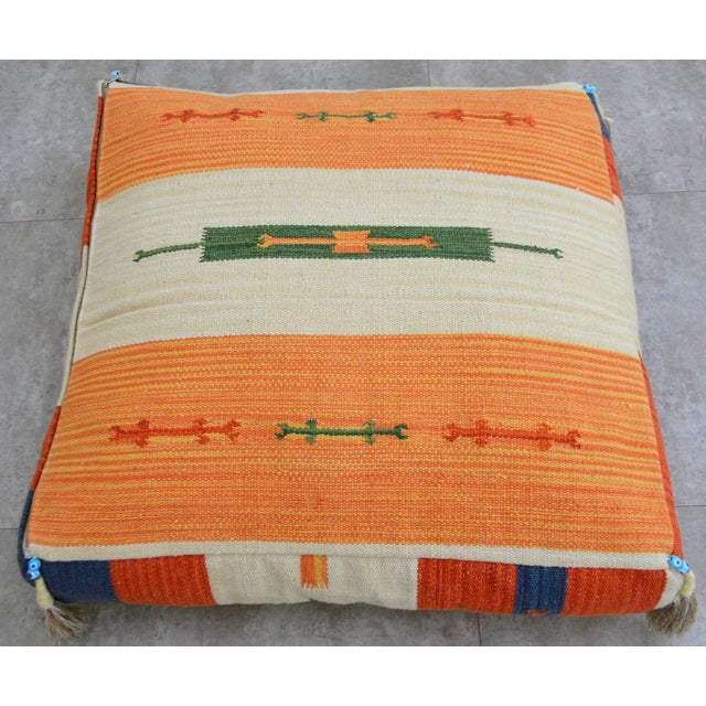 Turkish Hand Woven Floor Cushion Cover Cotton - 26″ X 26″ For Sale - Image 6 of 8