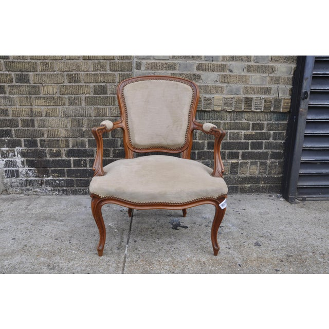 Vintage French Taupe Velvet Walnut Louis XV Rococo Style Armchair Fauteuil For Sale - Image 12 of 12
