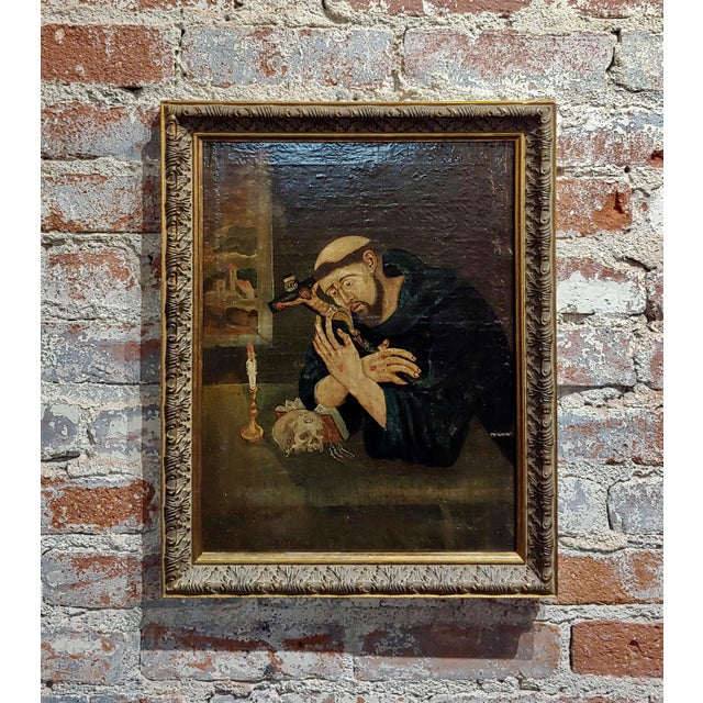 Brown 18th Century Spanish Colonial- Saint Francis of Assisi -Oil Painting For Sale - Image 8 of 8