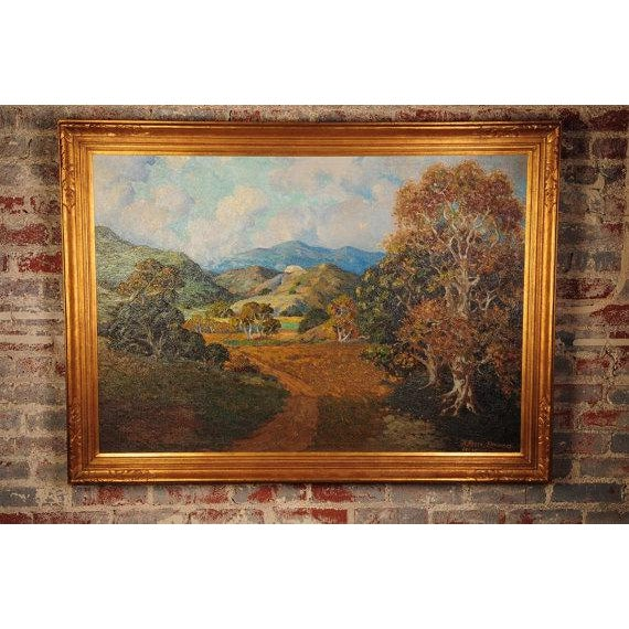 "Howard Arden Edwards- Eagle Rock Canyon- California Plein Air Oil Painting c.1925 frame size 38 x 51"" board size 32 x 45""..."