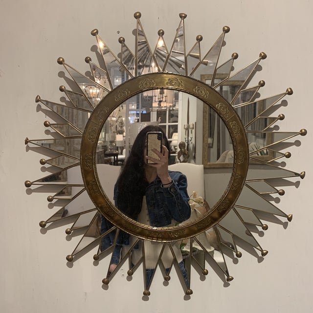 Vintage Starburst Wall Mirror For Sale - Image 9 of 13