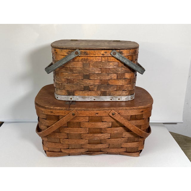 1920s Rustic Wooden Baskets - Stack of 2 For Sale - Image 11 of 11