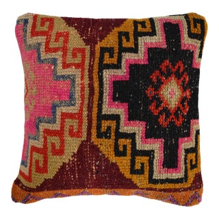 """16"""" Hand Knotted Pillow Cover. From Vintage Distressed Turkish Rug For Sale"""