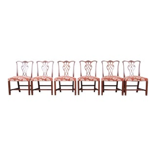 Baker Furniture Chippendale Carved Mahogany Dining Chairs, Set of Six For Sale
