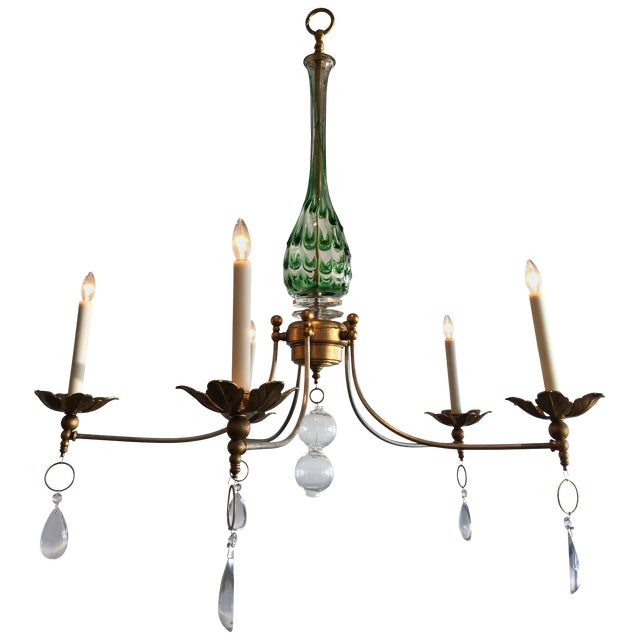 Vintage Murano Glass Chandelier With a Contemporary Twist For Sale