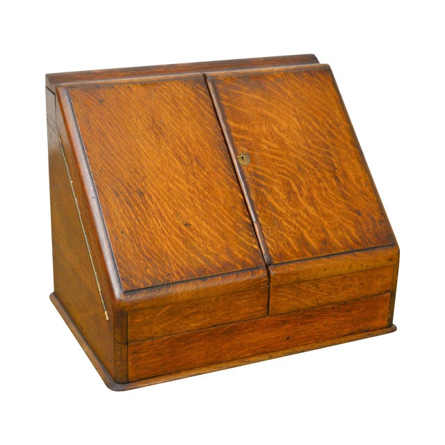 Antique 19th Century English Oak Desk Top File Calendar Organizer - Antique 19th Century English Oak Desk Top File Calendar Organizer