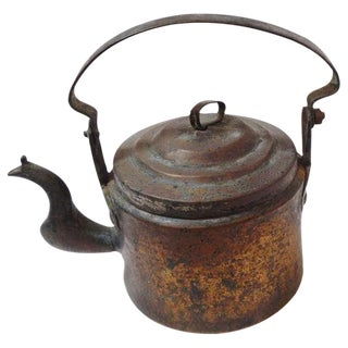18Thc Hand Made Copper Coffee Pot From New England