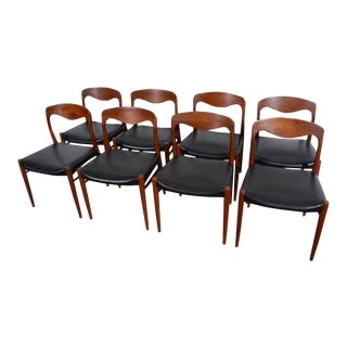 1960s Vintage Danish Modern Moller Style Leather Dining Chairs - Set of 8 For Sale