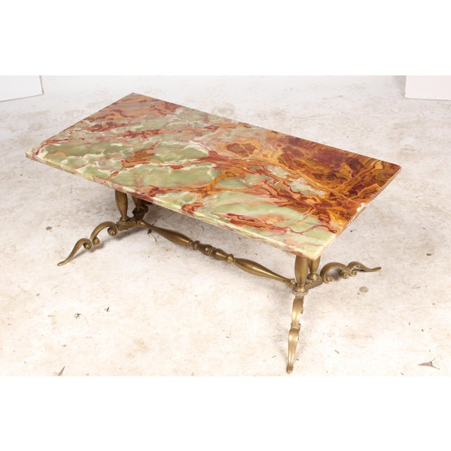 1930s Onyx & Brass Coffee Table - Image 3 of 6