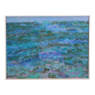 """Abstract Seascape """"Towards the Shore"""" (Florida Keys) Oil on Canvas Painting, Framed For Sale"""