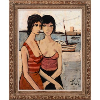 """Circa 1960 """"Les Amies II"""" Figurative Oil Painting by Charles Levier, Framed For Sale"""